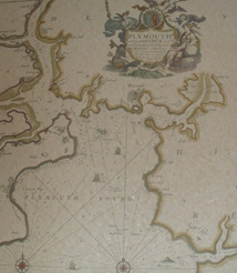 Replica 1693 English Map of Plymouth Harbour