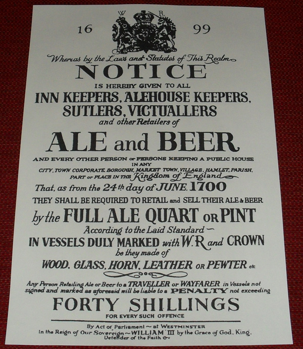 1699 Ale Amp Beer Notice 163 10 00 Letters Of Marque