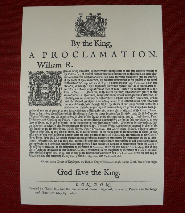 1698 Pardon Proclamation - Click Image to Close
