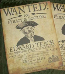 edward teach wanted poster