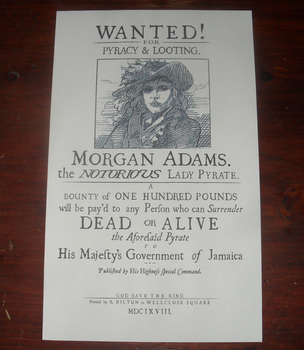Morgan Adams Wanted Poster 1600 Letters of Marque Replica – Wanted Poster Letters