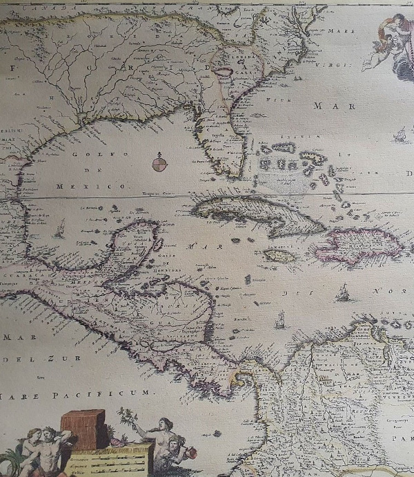 1682 Dutch map of the Caribbean and the Americas