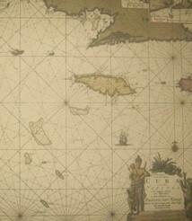 Replica 1712 Dutch Seachart of the Greater Antilles Islands