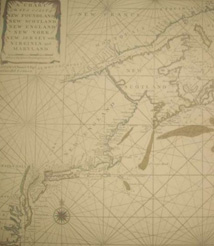 Replica 1713 English Seachart of the east coast of North America