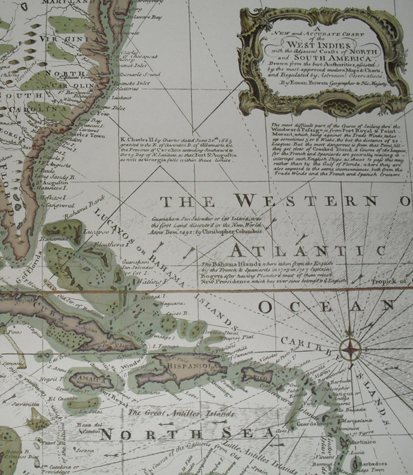Replica 1748 English Chart of the West Indies