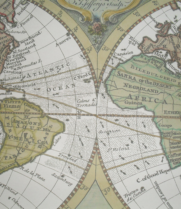 Replica 1748 English Map of the World